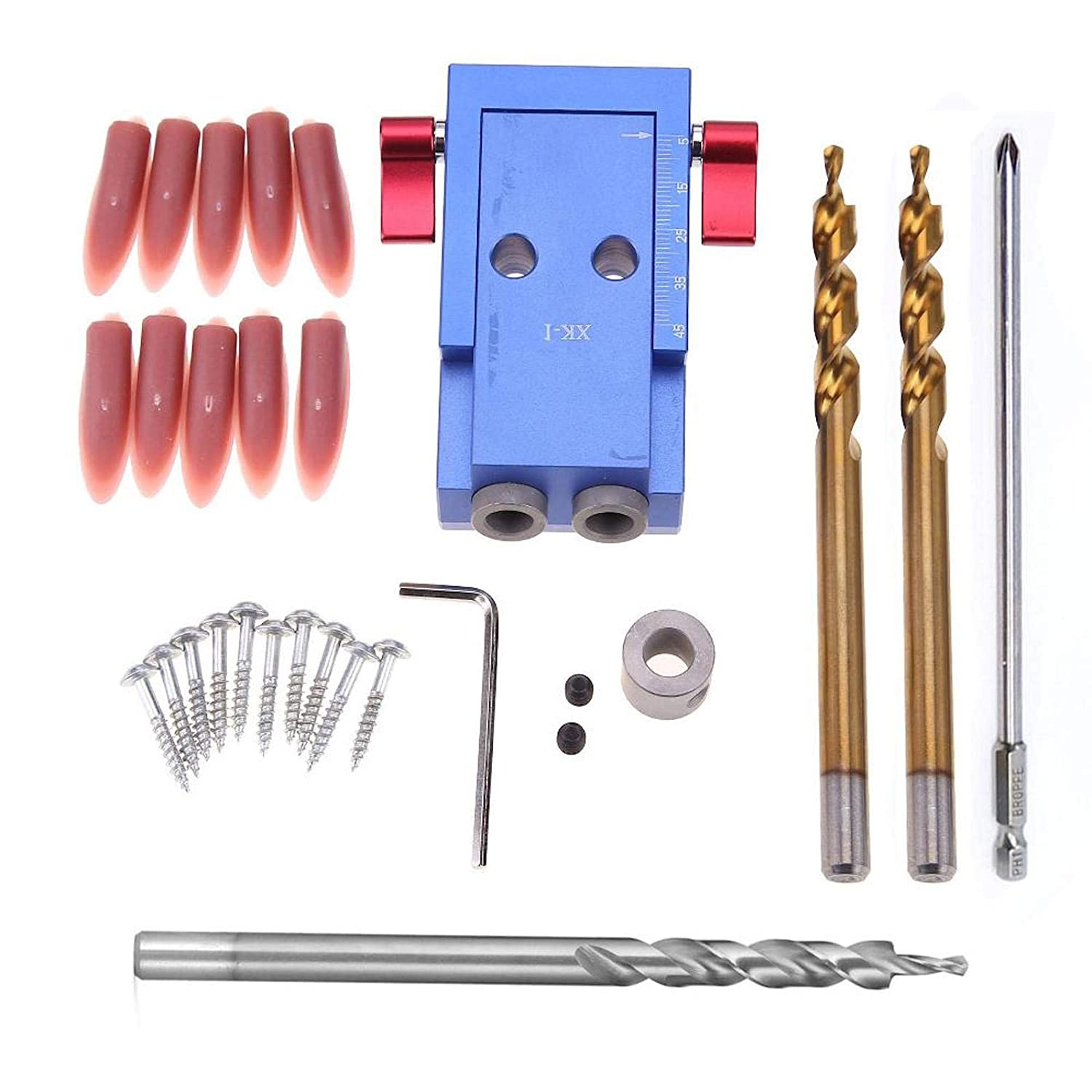 SXM-SXM Aluminum Alloy Upgrade Woodworking Pocket Hole Jig Kit Step Drill Bit Hole Puncher Locator Dowel Jig Set Woodworking Tools Drill