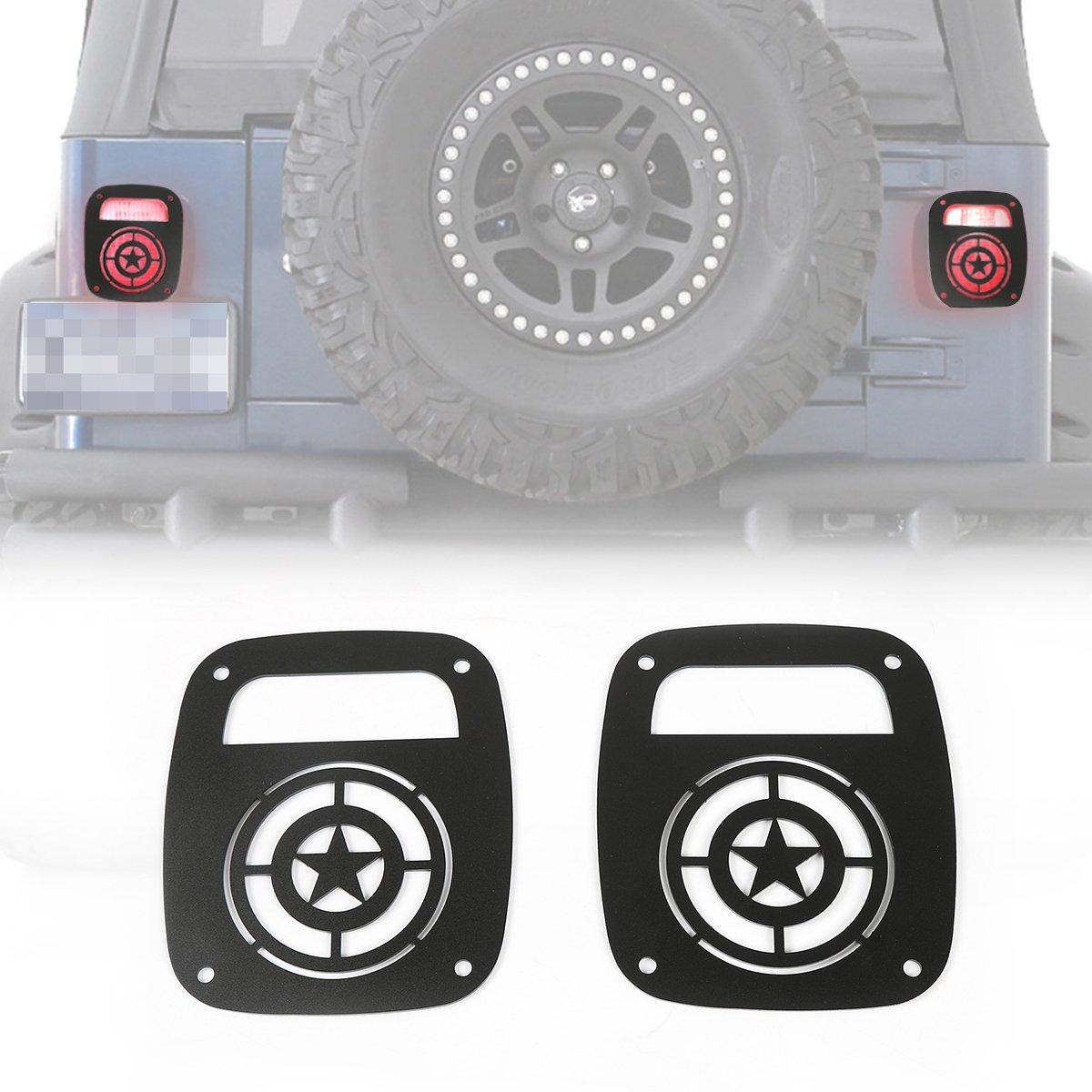 Pair 5 Stars RT-TCZ Aluminum Black Rear Taillights Light Guard Tail Light Cover For 1997-2006 Jeep Wrangler TJ