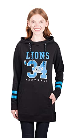 072f9c95 Ultra Game NFL Detroit Lions Women's Tunic Hoodie Pullover Sweatshirt  Terry, Team Color, Black, X-Large