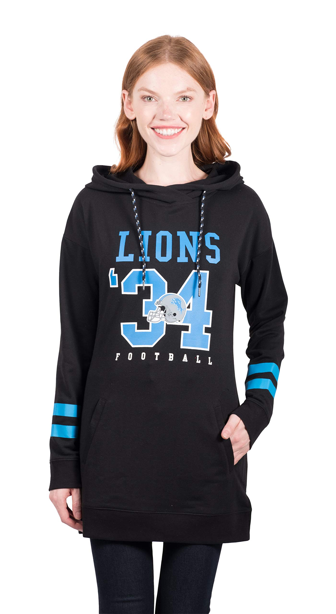 Ultra Game NFL Detroit Lions Women's Tunic Hoodie Pullover Sweatshirt Terry, Team Color, Black, Large