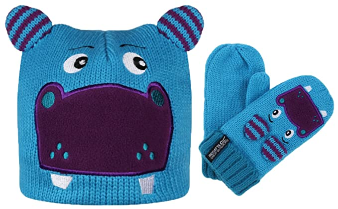 328ec432030 Regatta Hats Mitts Childrens Kids Animal Colourful Fun Warm Cosy Winter  Novelty (1-2