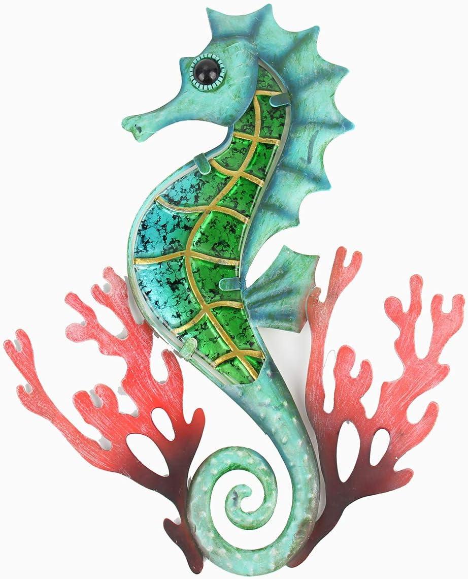 Liffy regalo hecho a mano de metal con cristal azul coral caballito de mar decoración de pared para el hogar, patio, porche, baño
