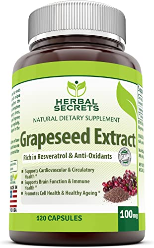 Herbal Secrets Grapeseed Extract – 100 Mg 120 Capsules Non-GMO -Supports Cardiovascular Circulatory Health*- Supports Brain Function Immune Health* Promotes Cell Health Healthy Aging*