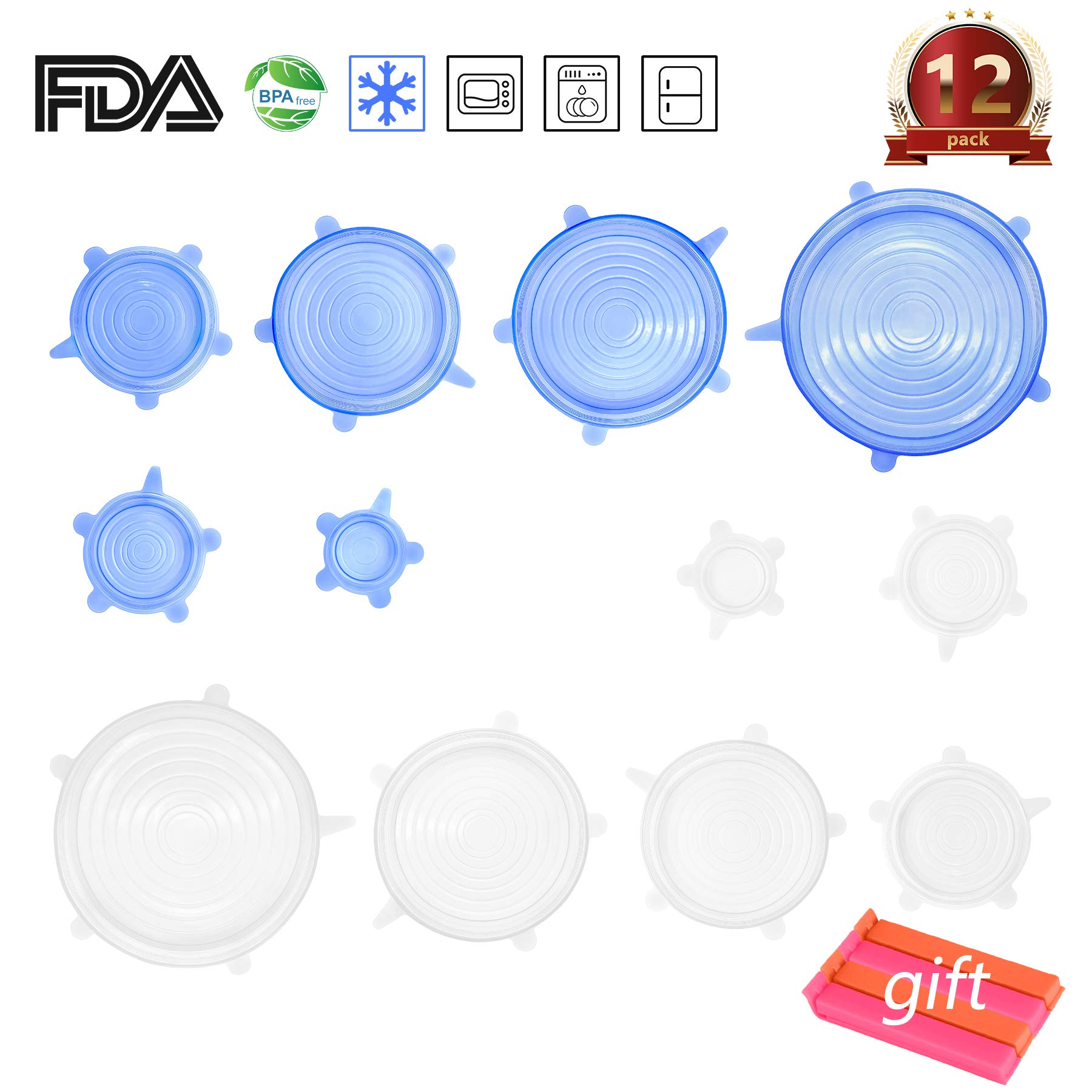 Silicone Stretch Lids, 12 Pack, 2 Colors, 6 Sizes Silicone Food& Leftovers Storage Seal Covers Lids For Bowl,Cup,Pot,Dish,Microwave Oven, Refrigerator, Freezer, 4 Free Food Bag Sealing Clips Included