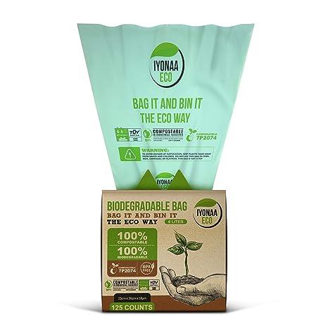 iyonaa Eco Bolsa de residuos Biodegradable, 6 L x 125 Bolsas ...