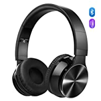 Bluetooth Headphones, VicTsing Wireless Foldable Over-Ear Hi-Fi Stereo Headset With Noise Cancelling Microphone, Supports Hands-Free Calling and Wired Mode for PC/Cell Phones/TV - Black
