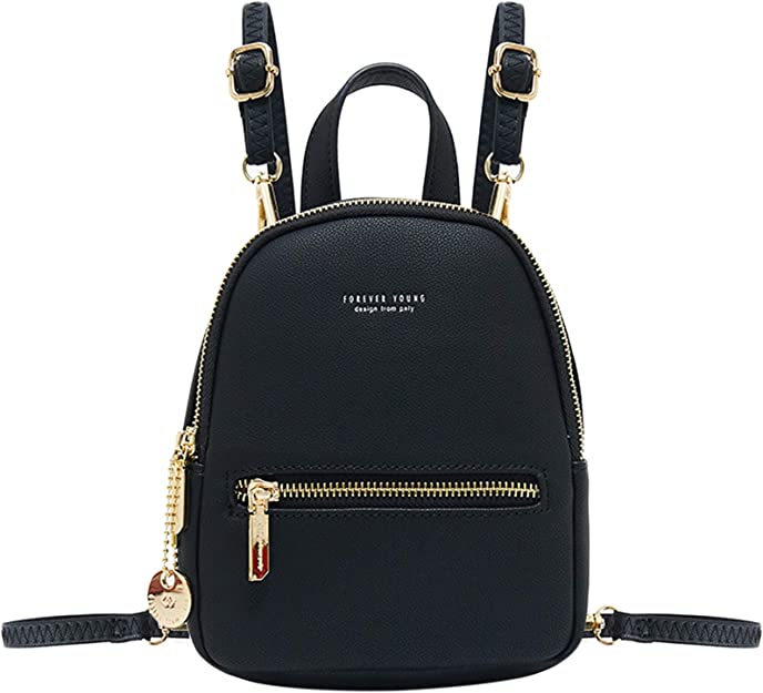 Womens Girls Real Black Leather Backpack Small Rucksack Shoulder Chest Bag  A347