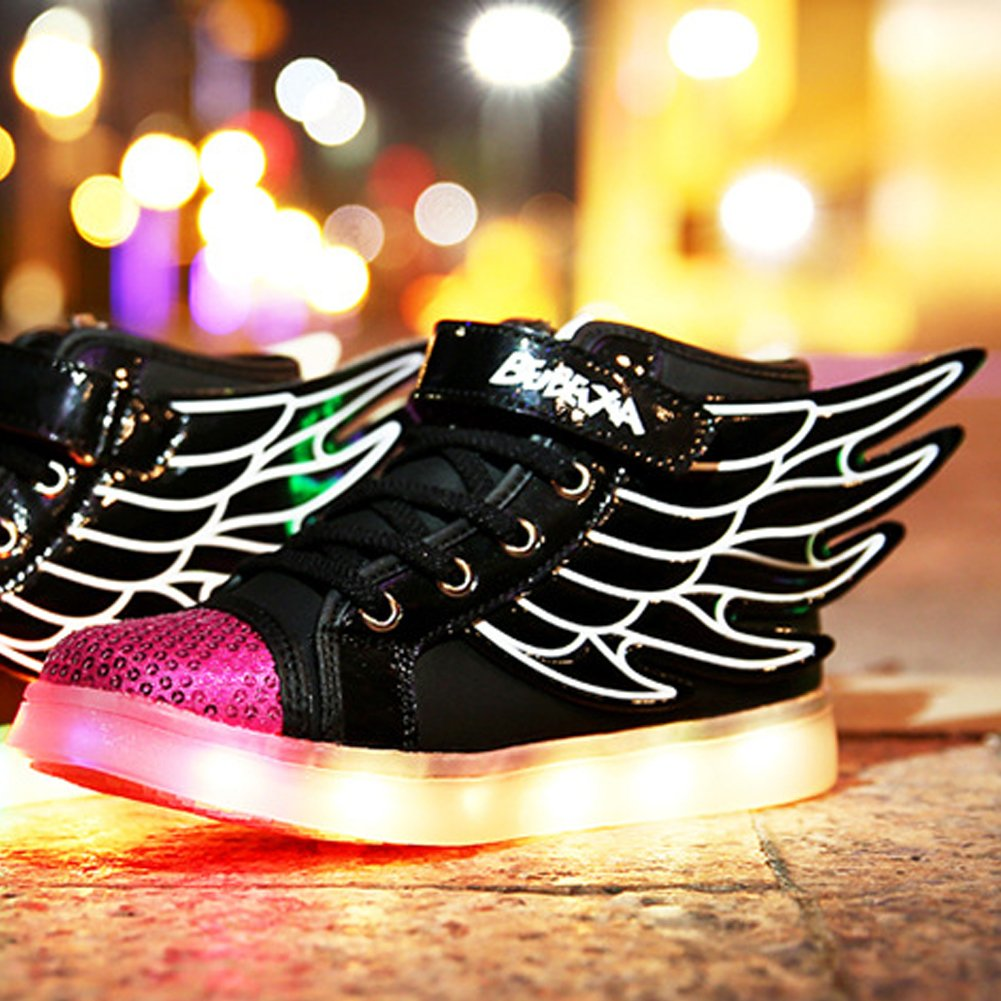 Tricandide Childs 7 Colors LED Flashing Sneakers High Top Sport Shoes with Wings