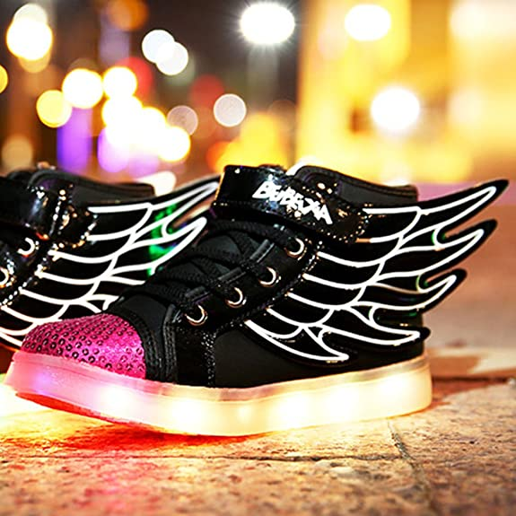 UDreamTime Kinder 7 Farben LED-Blitzen-Turnschuhe Sportschuhe mit Flügeln Schwarz EU29 CRtUxqDA
