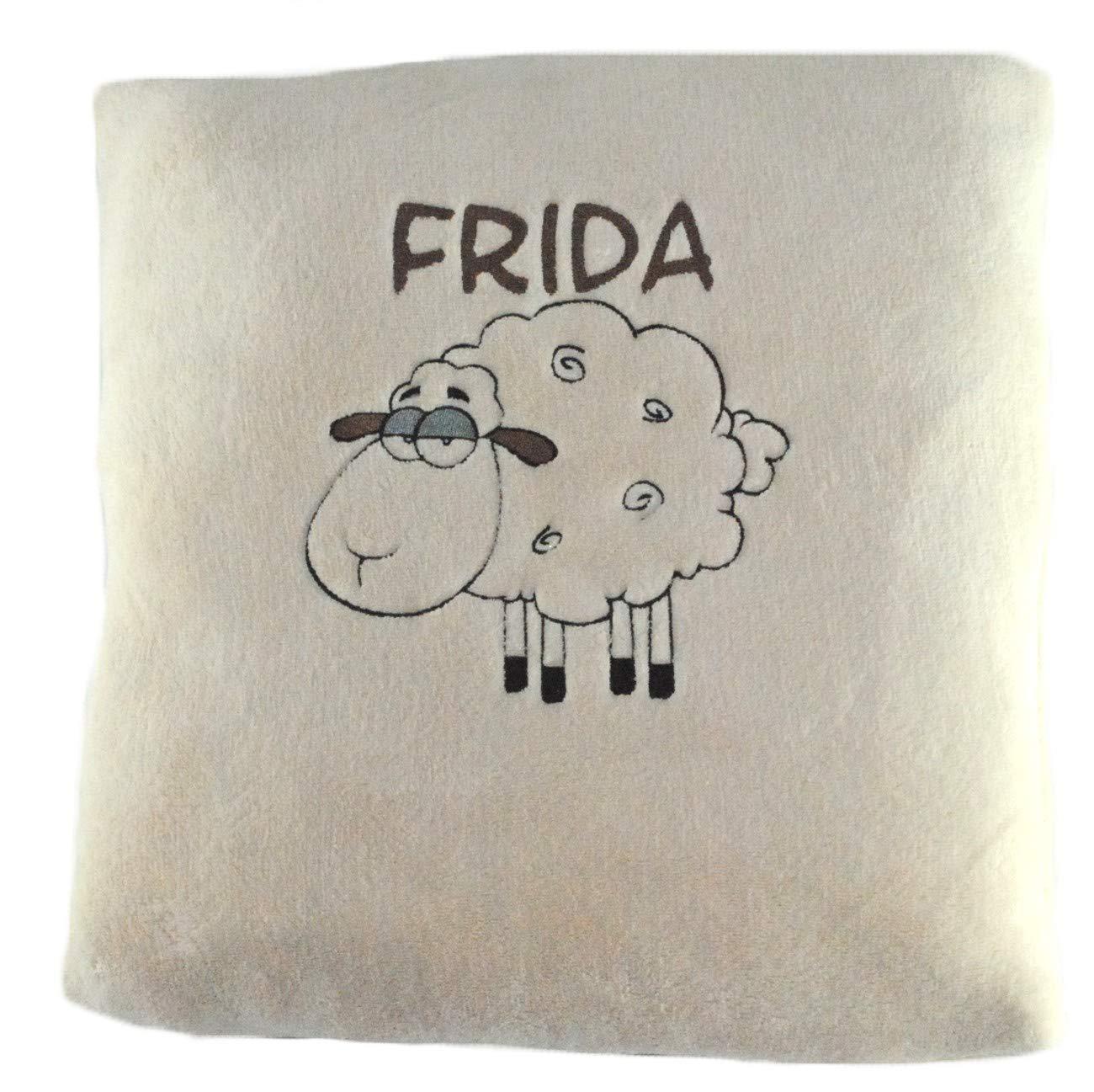 Taufe oder Geburtstag 40x40cm Flausch-Material WOLIMBO Schaf Kissen mit Namen beige zur Geburt