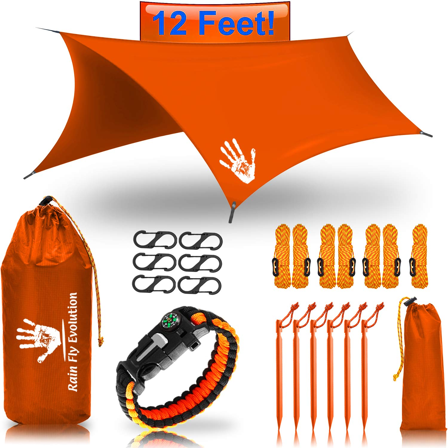 Best Choice Products 12 x 10 ft Hammock Waterproof Orange RAIN Fly - Survival Bracelet Kit - Perfect Hammock Shelter Sunshade for Camping by Rain Fly EVOLUTION