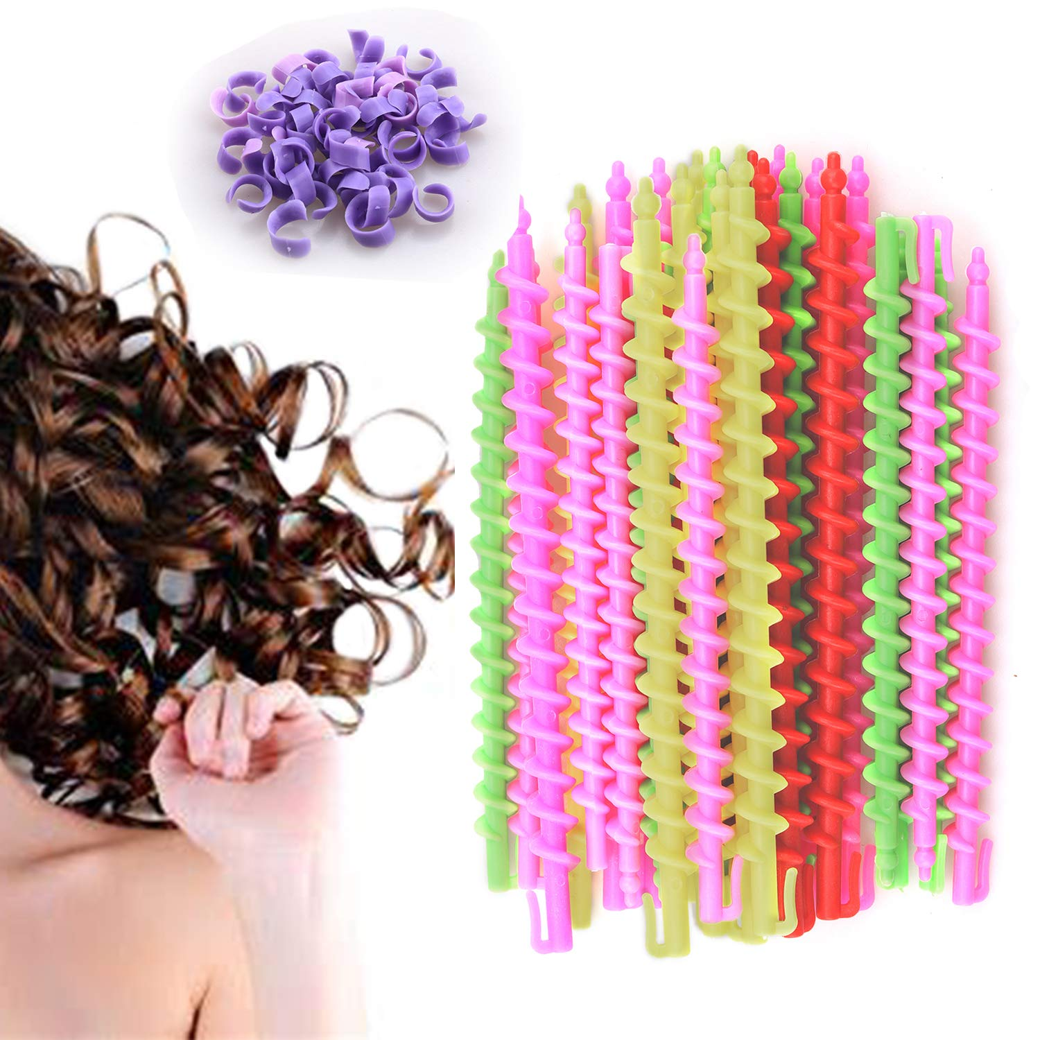 50 Pack Plastic Spiral Hair Perm Rod,Hairdressing Spiral Hair Perm Rod,Hair Styling Spiral Perm Rod,Spiral Curling Perm Rod for Women Girls