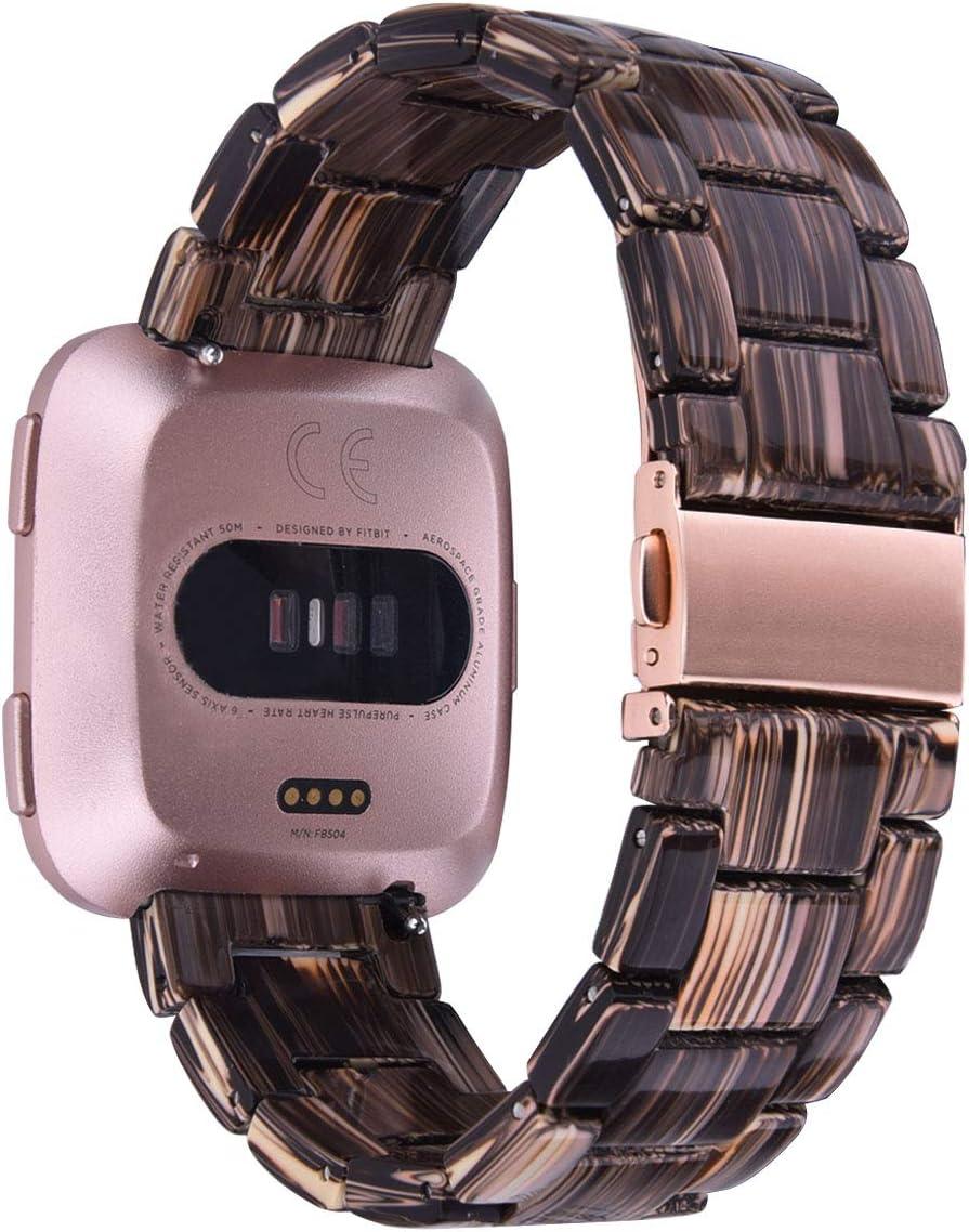 V-MORO Compatible Fitbit Versa/Versa 2/Versa Lite Band Women- Resin Versa Wristbands Replacement Bracelet Strap Metal Stainless Steel Rose Gold Buckle ...