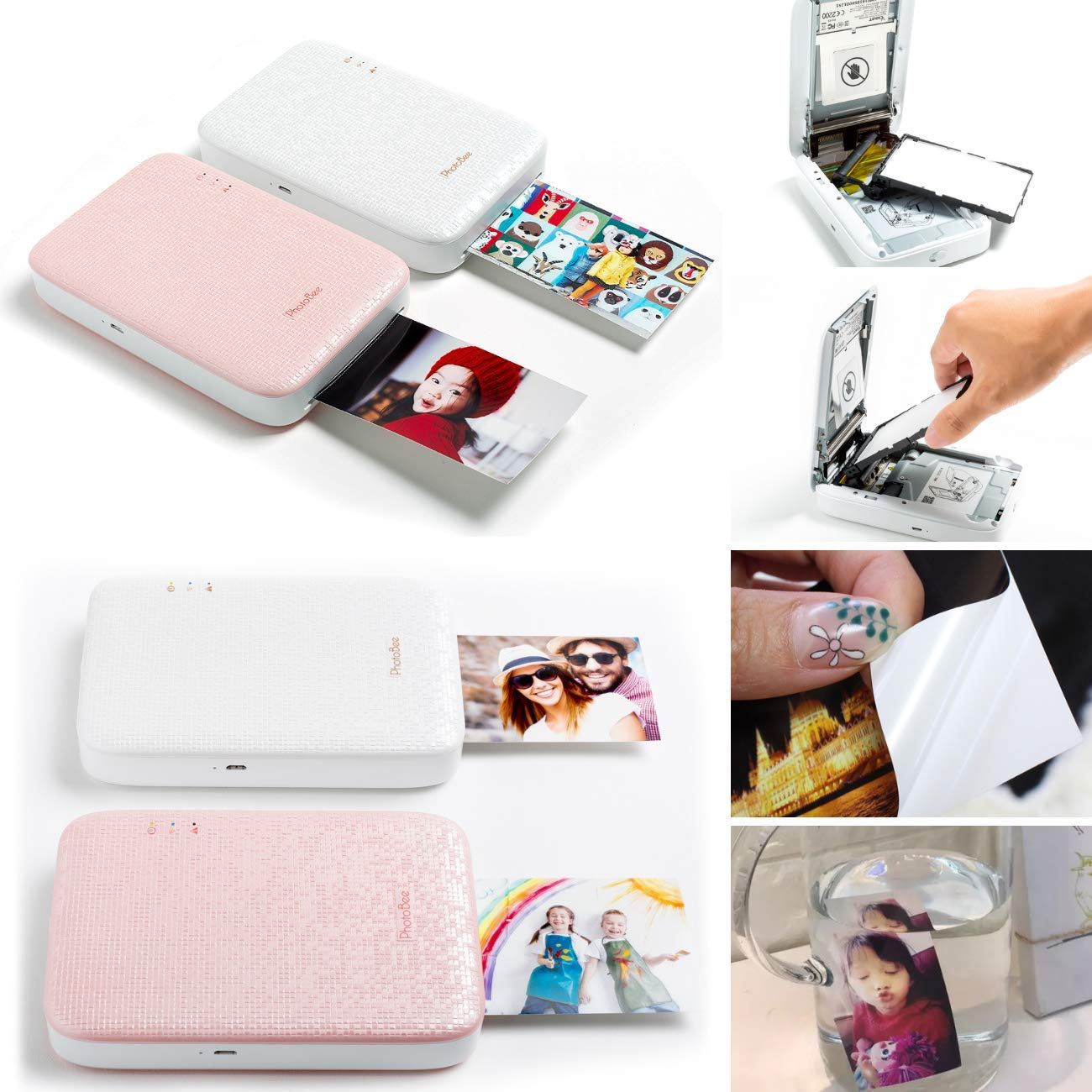 Photobee Portable Sticker Photo Printer - Pink (12 Sheets of Sticky-Backed Photo Paper are Included) by PHOTOBEE