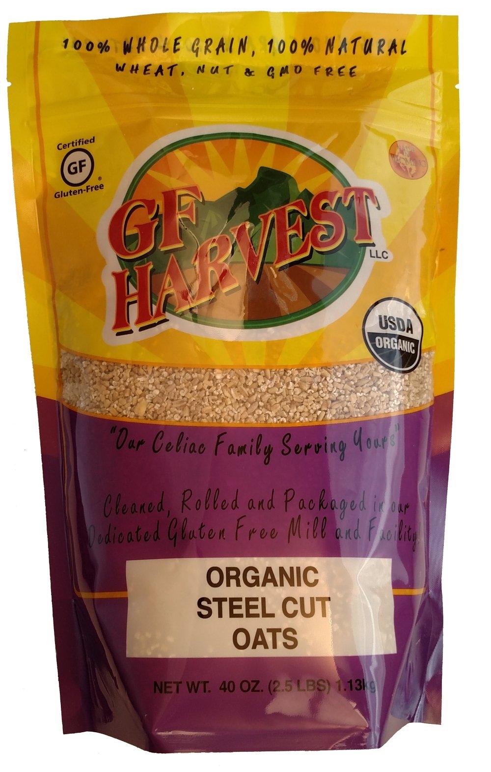 GF Harvest Gluten Free Certified Organic Whole Grain Steel Cut Oats, 40 Ounce by GF Harvest
