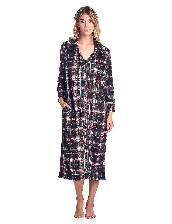 Ashford & Brooks Women's Long Zip Up Mink Fleece Lounger Robe ABW78165RB