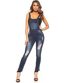 b9581bb5a9f2 Monkey Ride Jeans Women s Distressed Stretch Twill Denim Overalls