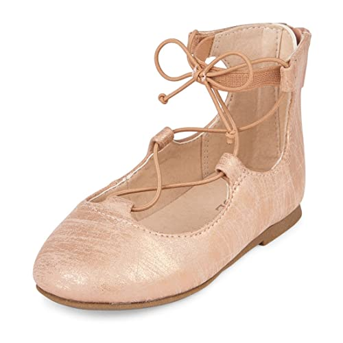 The Childrens Place Girls TG LACE-UP June Ballet Flat Rose Gold TDDLR 5