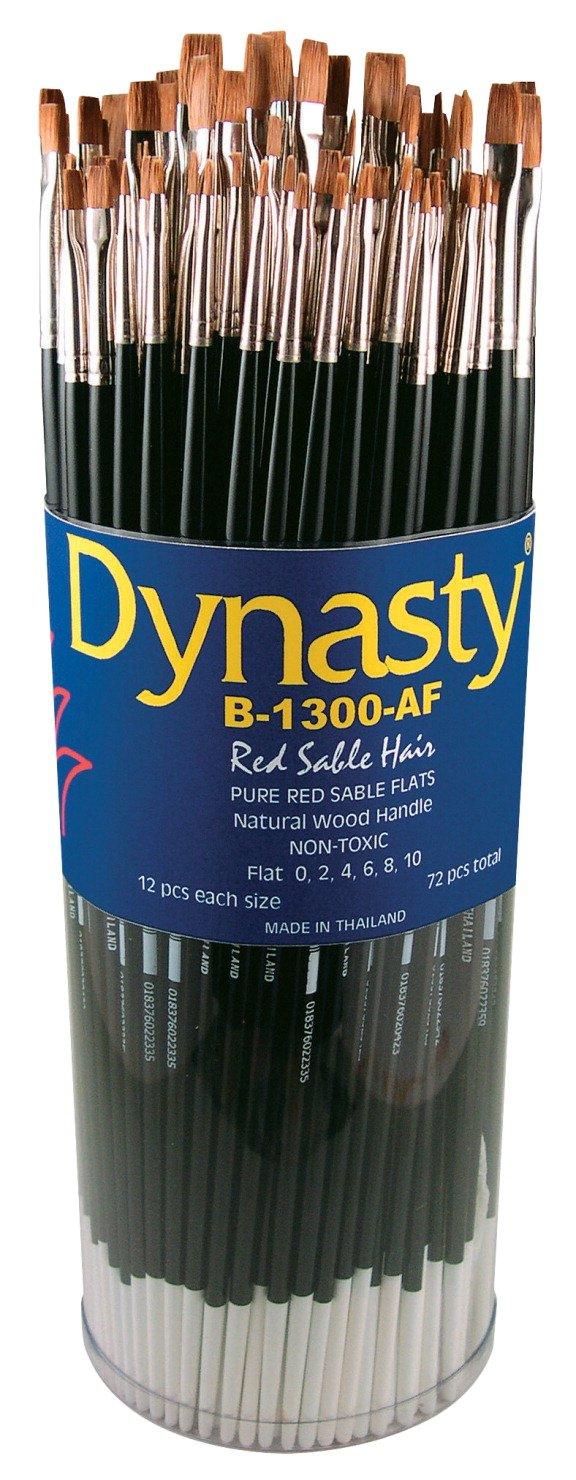 Dynasty B-1300AF Flat Red Sable Hair Long Hardwood Handle Artists Paint Brush Set, Assorted Size, Black, Set of 72