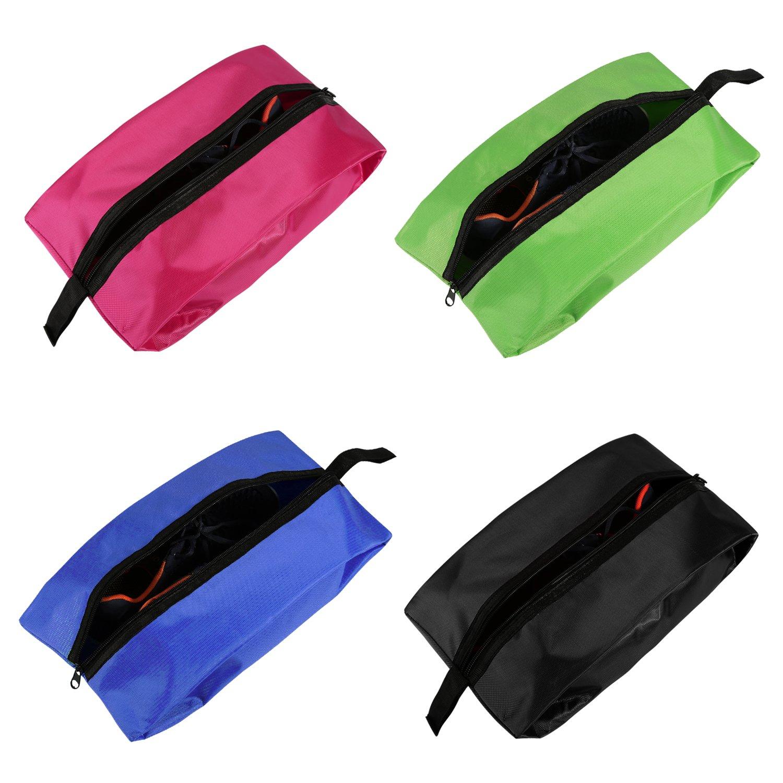 Bolsas de Zapatos de Viaje, NEWSTYLE Bolsa de Organizador de Calzado portátil de Nylon Resistente al Agua Set de 4 con Cremallera para Hombres y Mujeres (Paquete de 4 Shoe-bag-4color