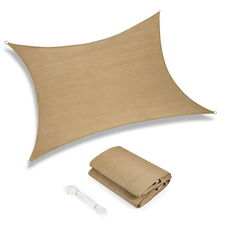 Sunkorto 12x16 Rectangle UV Block Sun Shade Sail Perfect for Outdoor Patio Garden Sand by Sunkorto