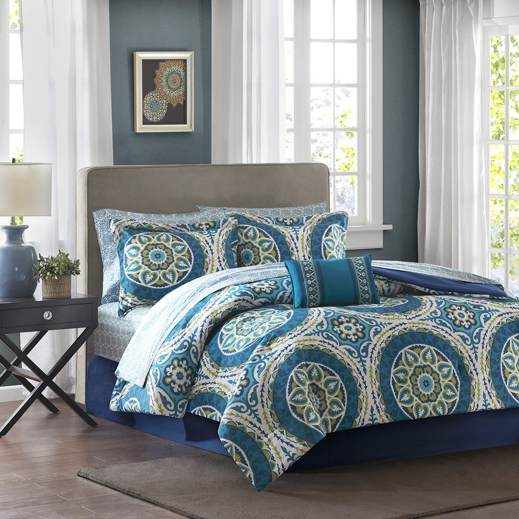 Madison Park Essentials MPE10-057 Serenity Complete Bed and Sheet Set, Blue