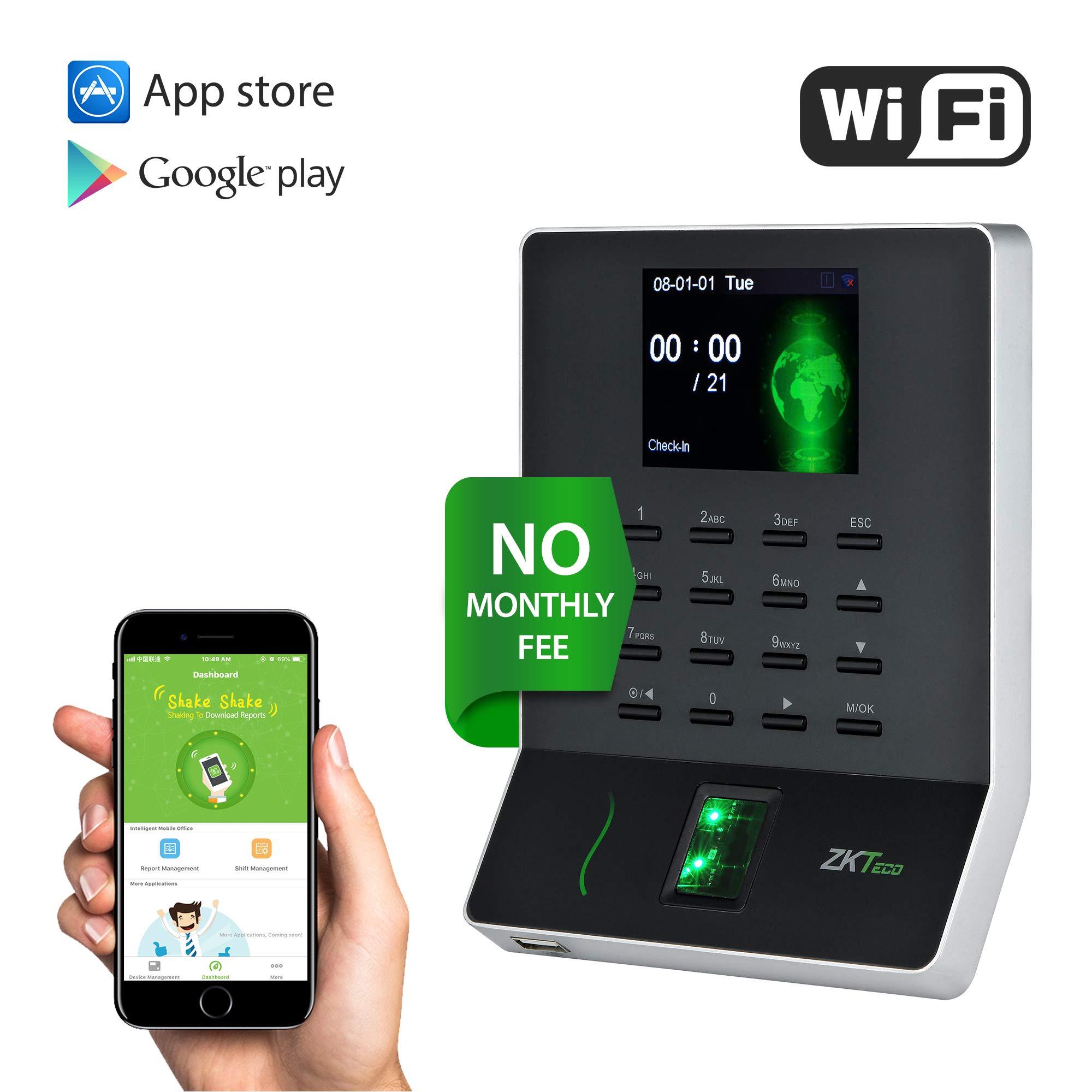 ZKTeco Fingerprint Time Clock Biometric Attendance Machine, Employee Checking in Attendance Clocks for Small Business