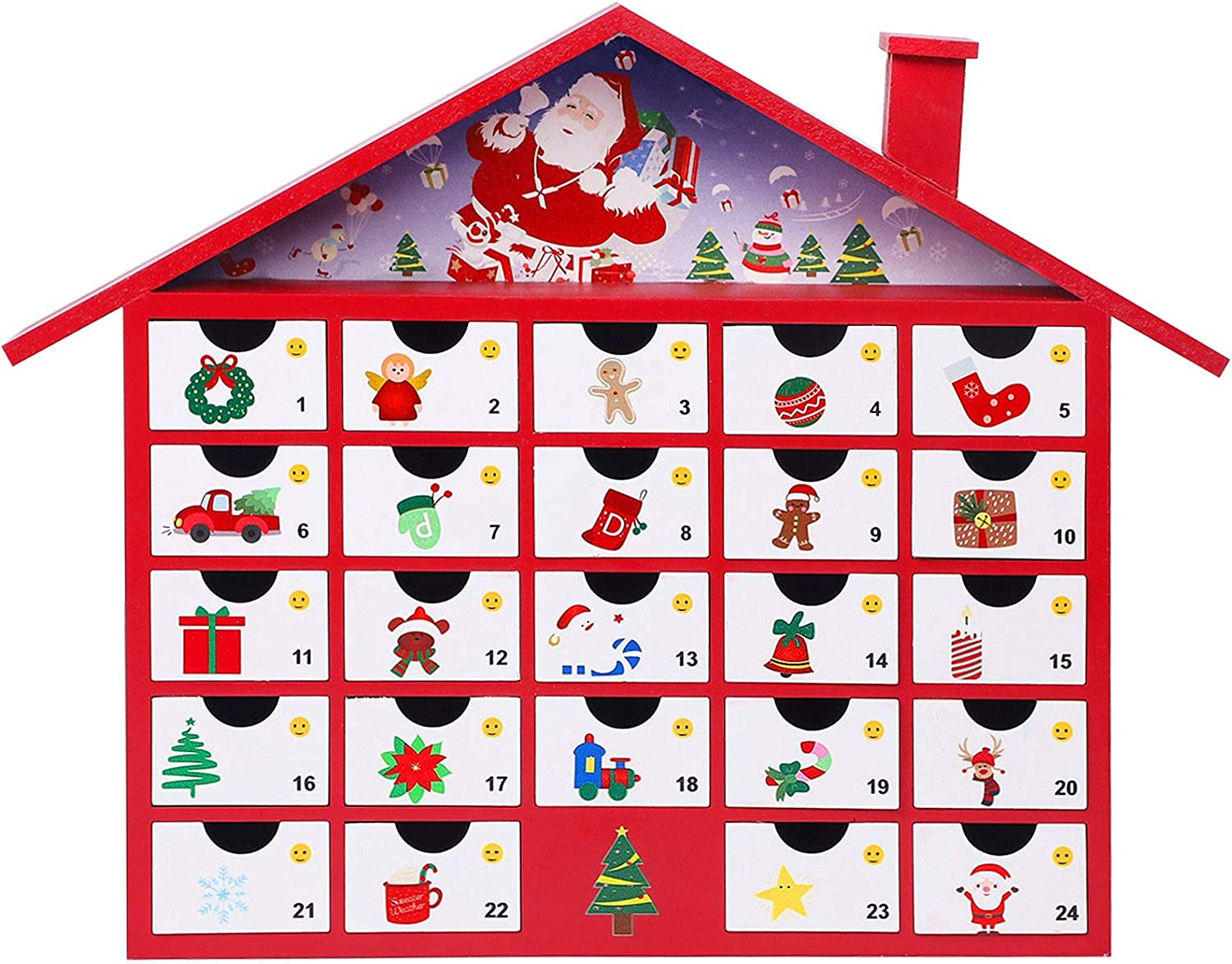 Juegoal Red Advent Calendar, Premium Hand Painted Christmas House with 24 Drawers Countdown to Christmas, Refillable Wooden Advent