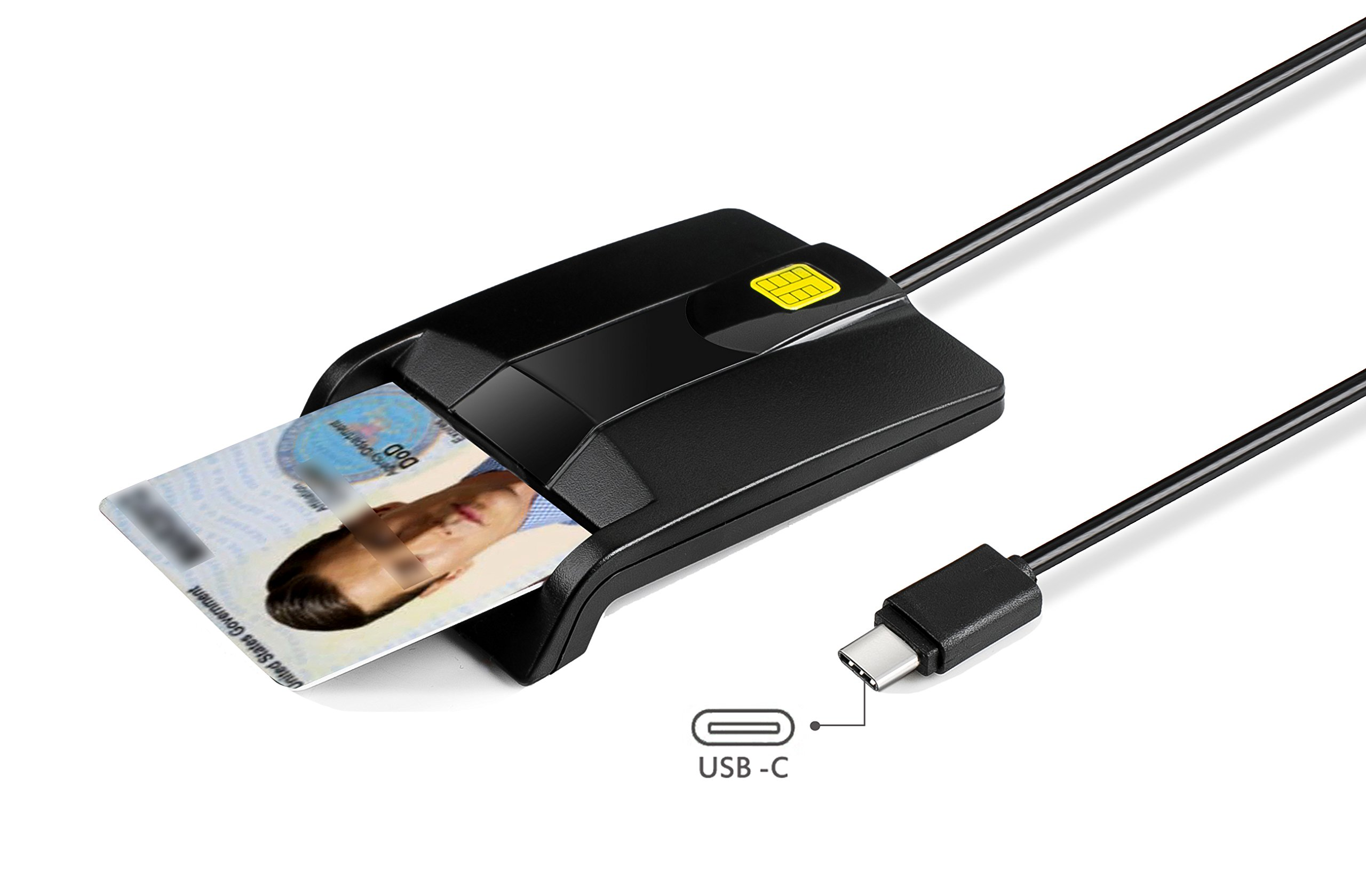 Type C Smart Card Reader Saicoo DOD Military USB-C Common Access CAC Card Reader, Compatible with Windows (32/64bit) XP/Vista/ 7/8/10, Mac OS X