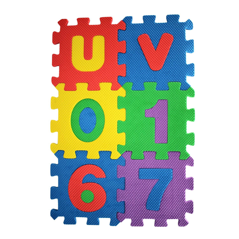 Trimming Shop 36 Piezas Suave Espuma de Eva Seguro Alfombra Juegos Aprendizaje Abecedario Número Puzle Rompecabezas para bebé para niños GB