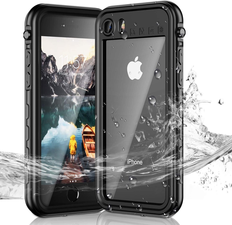 Janazan iPhone 7/iPhone 8/iPhone SE 2020 Waterproof Case, IP68 Full Sealed Underwater Protective Case, Waterproof Shockproof Snowproof Dirtproof for iPhone 7/8/SE 2020 4.7 inch (Black)