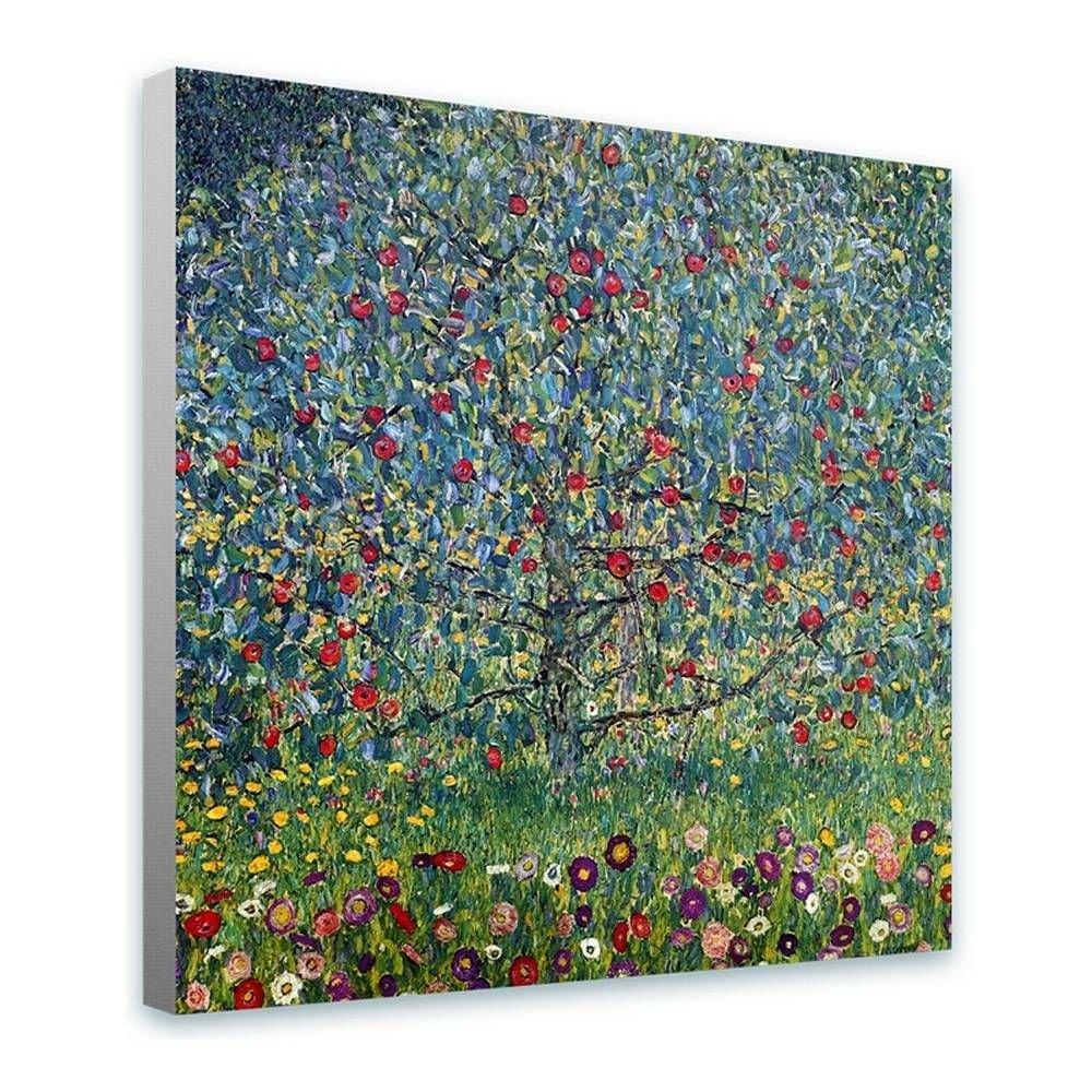 Alonline Art - Apple Tree Gustav Klimt Framed Stretched Canvas (100% Cotton) Gallery Wrapped - Ready to Hang | 32''x32'' - 81x81cm | Frame Framed Paints Framed Wall Art Framed Wall Decor for Bedroom