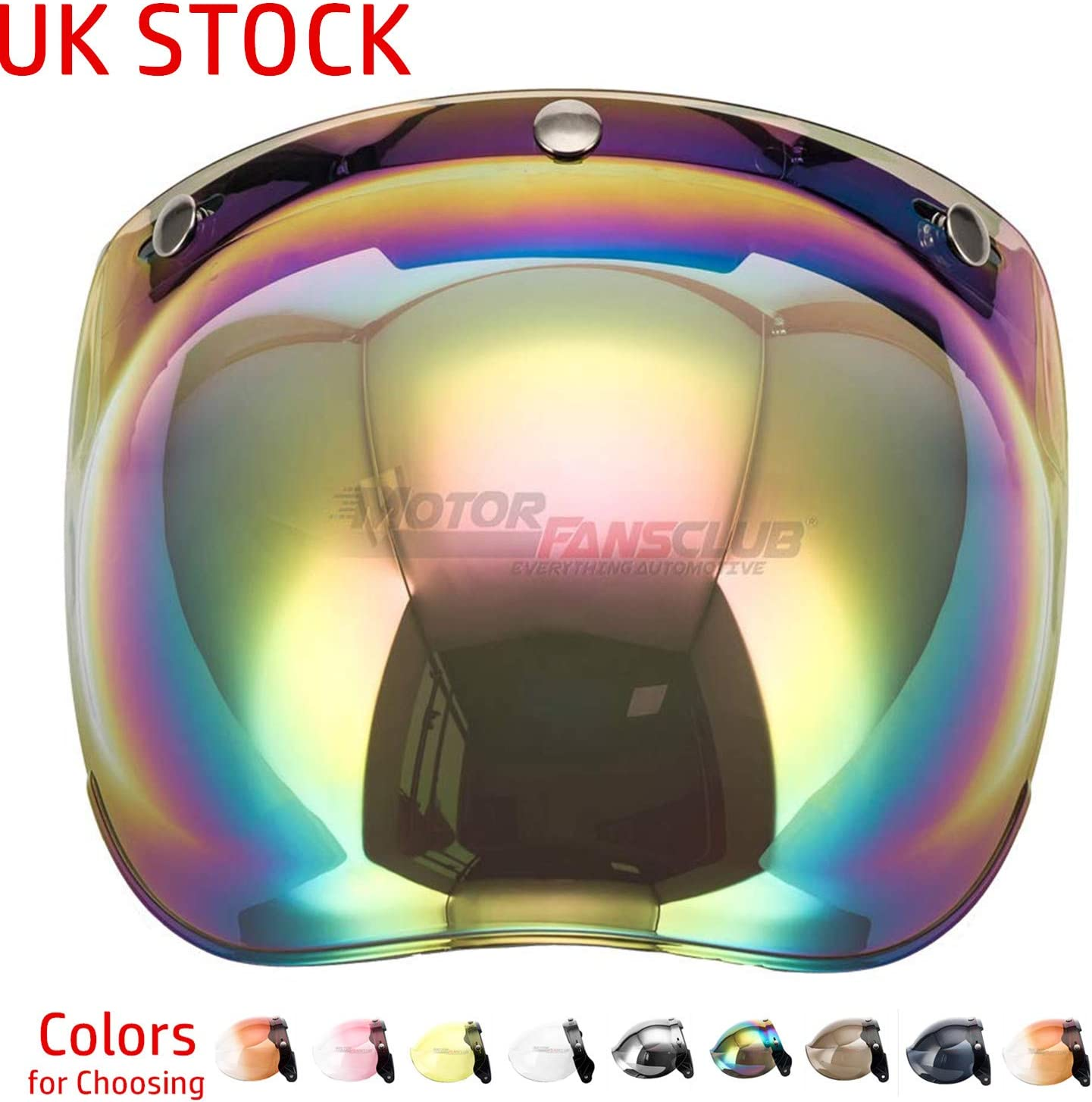MotorFansClub Universal 3-Snap Bubble Visor Shield for Street Bike Motorcycle Helmet with Removable Flip Adapter Open Face Helmet Accessories Clear, One Size