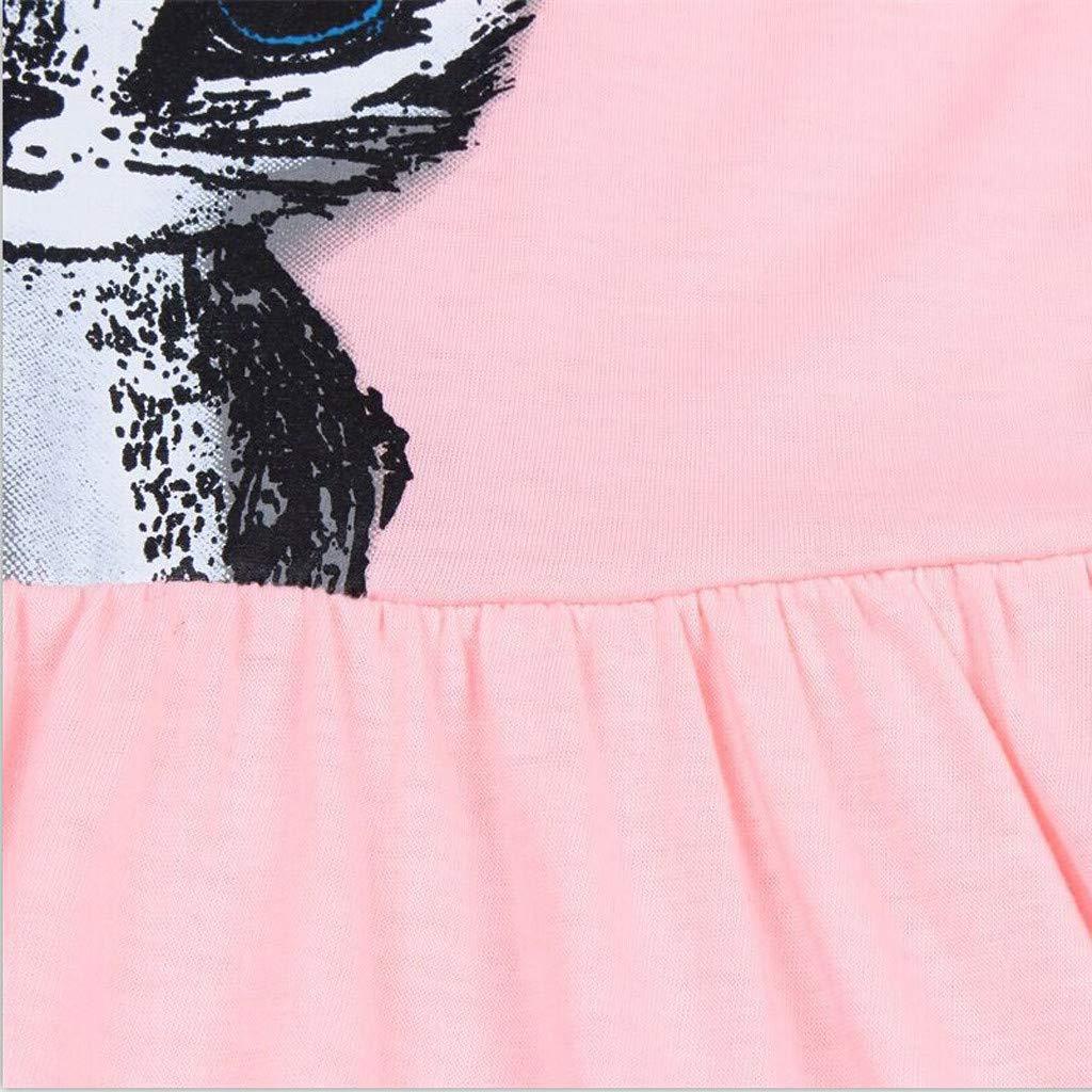 Sunnywill Enfants Filles Sport Robe B/éb/é Filles /À Manches Courtes Bowknot Chat De Bande Dessin/ée Imprim/é Au Genou Robe Filles Couleur Unie /À Manches Courtes Swing Dress Robe Outfits 1-6 Ans