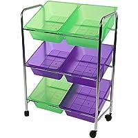 Mind Reader Toy Storage Organizer with 6 Storage Bins, Kids Storage for Bedroom