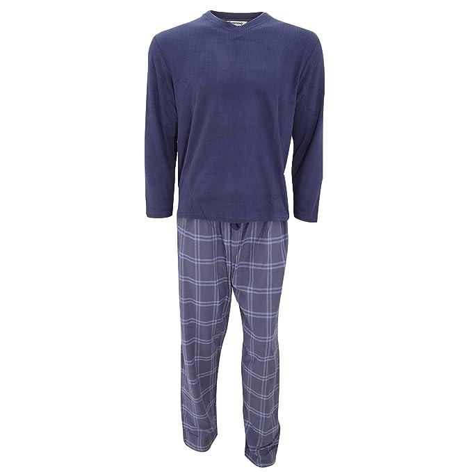 Conjunto pijama Top felpa de manga larga y pantalones a cuadros hombre caballero (Mediana (