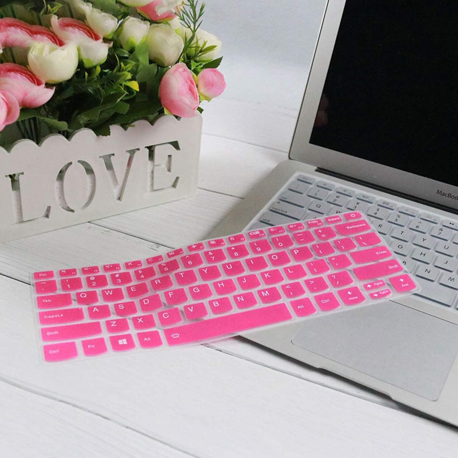 Silicone Notebook Keyboard Cover Skin Protector For Lenovo Ideapad C340 14 Inch C340 14Api C340 14Iwl C340 14Api 14Iwl-Fadepink