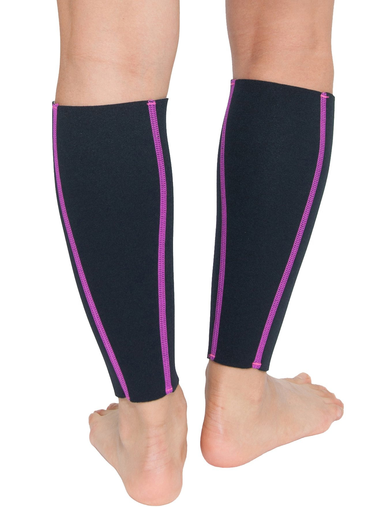 Delfin Spa Heat Maximizing Neoprene Compression Calf Sleeves (Pair) - Large, Pink