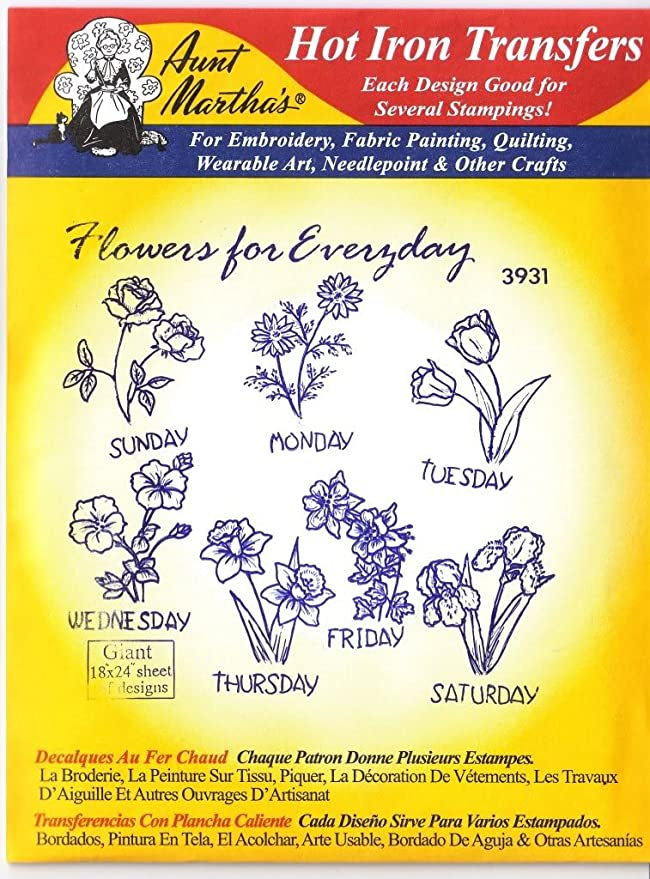 Amazon.com: Flowers for Everyday Aunt Martha\'s Hot Iron Embroidery ...