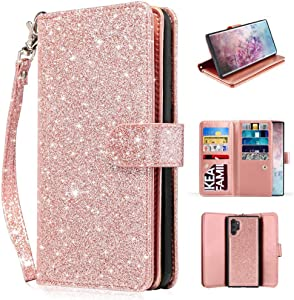 Newseego Compatible with Samsung Galaxy Note 10+ Plus/5G Leather Case,Glitter Faux PU Magnetic Multi-Card Slot Cash Protective Case Detachable 2 in 1 Wallet Cover with Wrist Strap-Rose Gold