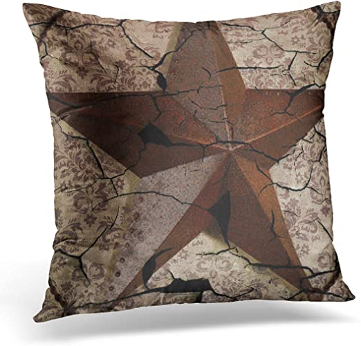 Throw Pillow Cover West Western Country Primitive Texas Star Saloon Decorative Pillow Case Home Decor Square 18x18 inches Pillowcase