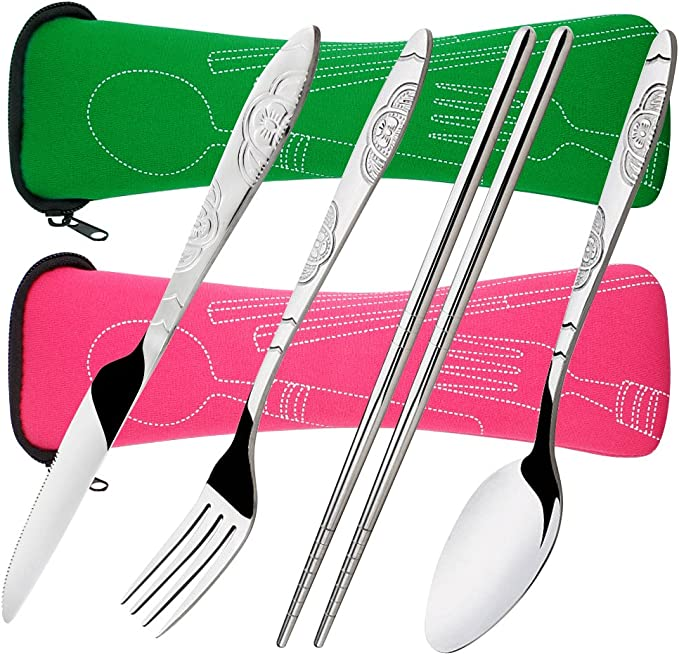 8 piezas Mostrada Conjuntos De Cuchillo, Tenedor, Cuchara, Palillos, SENHAI 2 Pack de vajilla con estuche e para viajar Camping Picnic ...