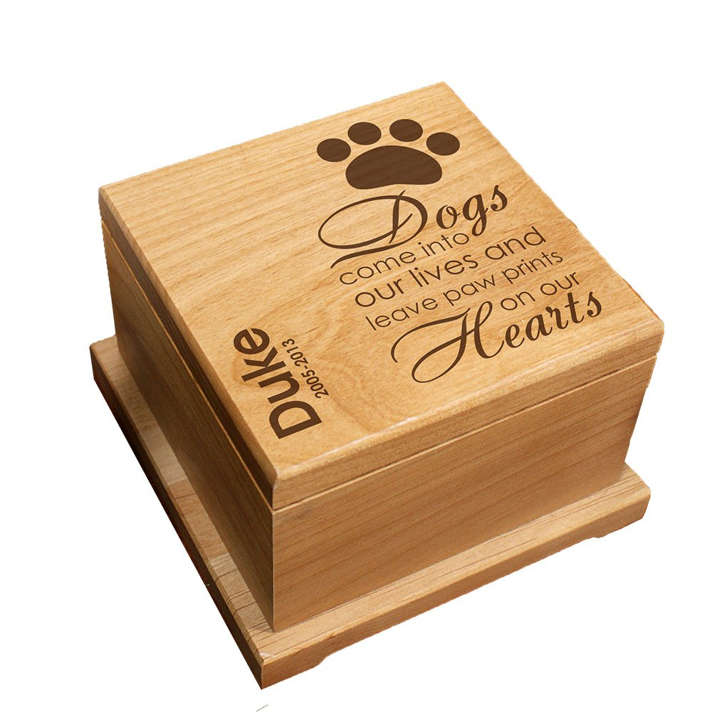 GiftsForYouNow Engraved Wooden Personalized Pet Memorial Urn for Dogs by GiftsForYouNow