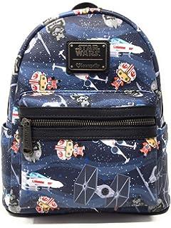 Loungefly x Star Wars Chibi Ships Print Mini Backpack (One Size, Blue Multi)