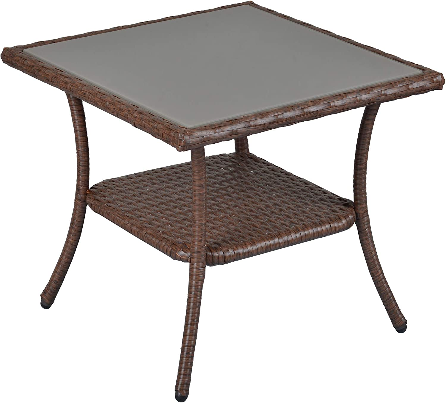SUNVIVI OUTDOOR Patio Coffee Table, Wicker Small Side Table for Outdoor, Aluminum Frame Square Glass Top End Table, Brown