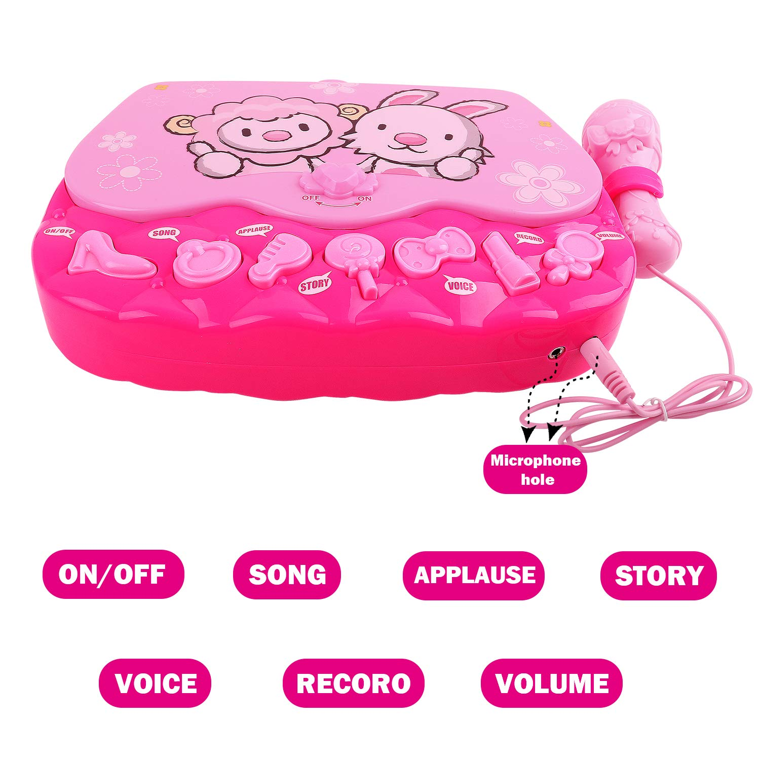 M SANMERSEN Karaoke Machine Toys for 3-6 Year Old Girls, Portable Musical Bag with Microphone Karaoke Player Toys for Girls Gifts Age 3 4 5 6 Xmas Gifts Pink by M SANMERSEN (Image #5)