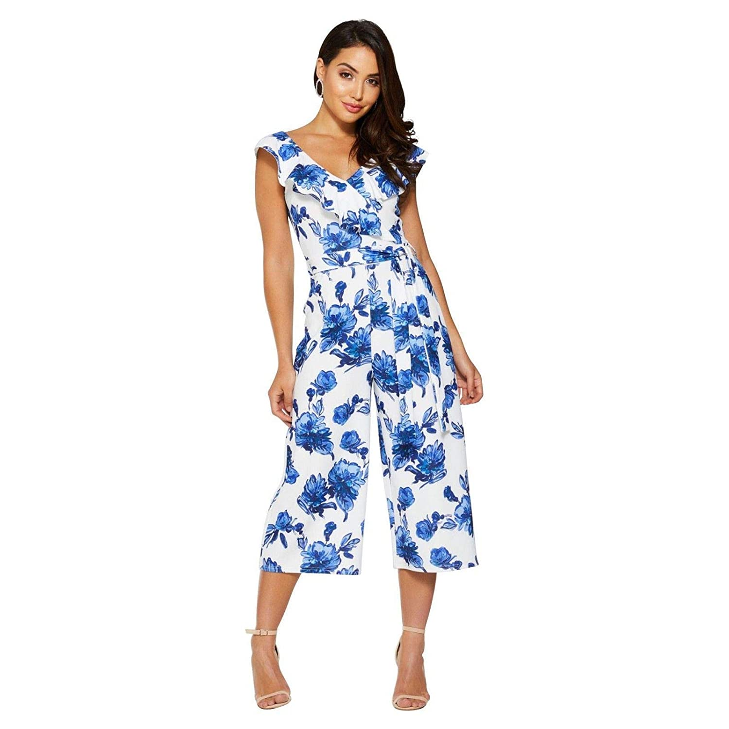 comfortable feel wide selection of colors latest collection Quiz Blue & White Floral Print Culotte Jumpsuit Party - Size ...
