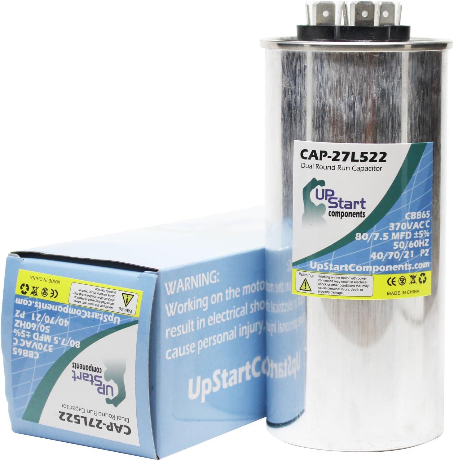 Replacement 80/7.5 MFD 370 Volt Round Dual Run Capacitor - Compatible With GE 27L522, Frymaster SE807, ICP 1066474, ICP 1086650, ICP 1149999, ICP 1172296, ICP C2A360GKA100, ICP C2H360GKA100