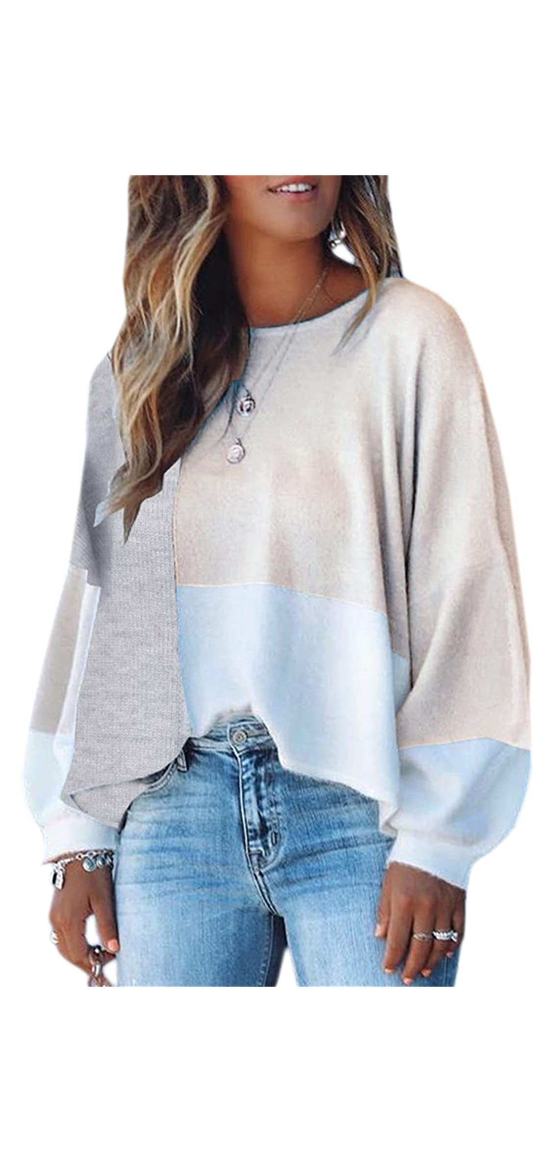 Women Sweater Long Sleeve Color Block Knit Pullover Crew