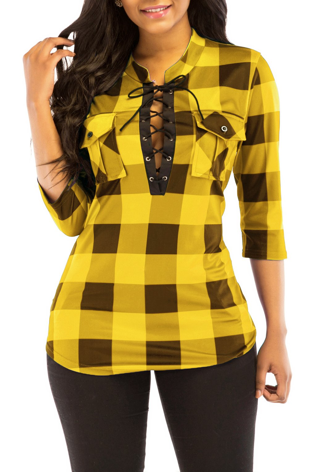 KISSMODA Women's Sexy Fitted Plaid Shirt 3/4 Sleeves Blouses V Neck Tie Front Tops with Pockets (X-Large, Yellow)